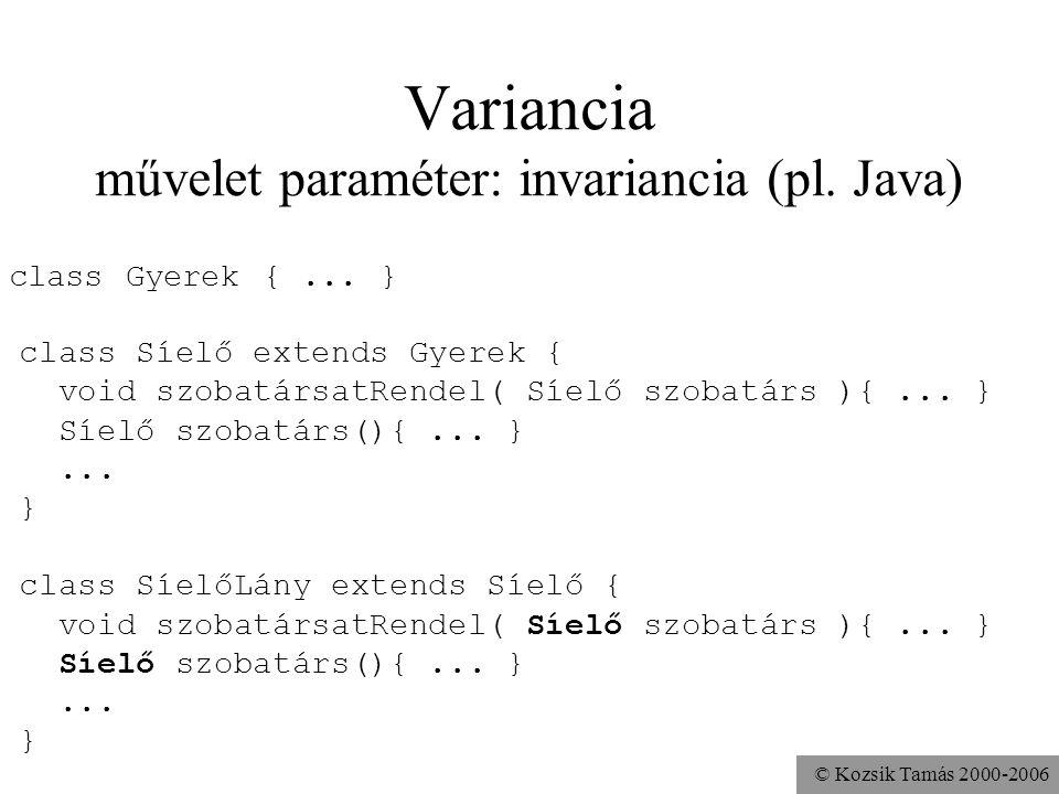 Variancia művelet paraméter: invariancia (pl. Java)