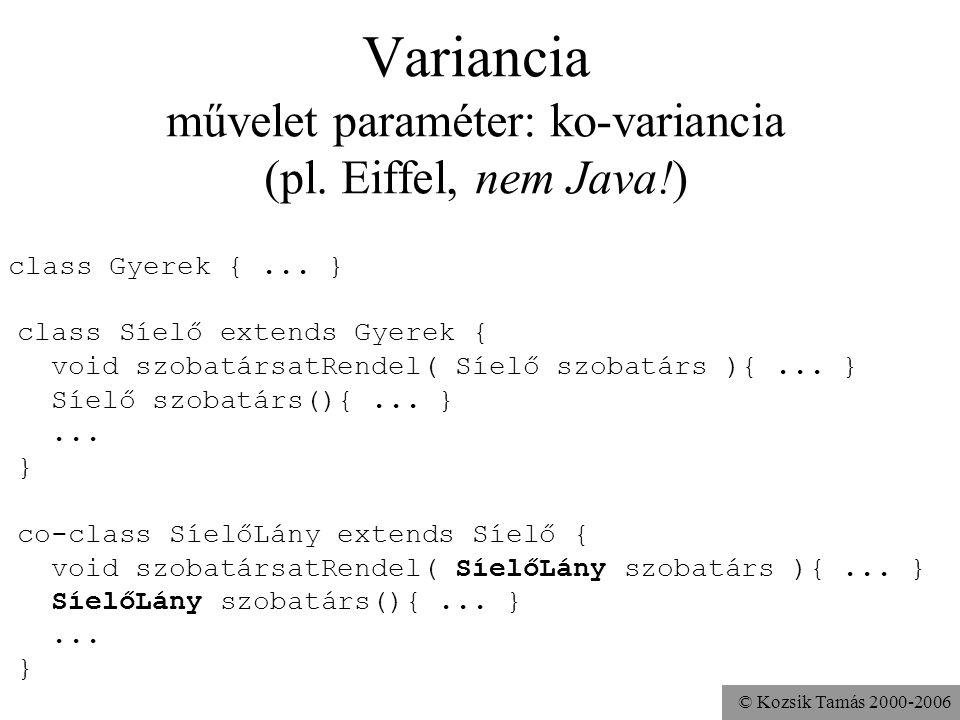 Variancia művelet paraméter: ko-variancia (pl. Eiffel, nem Java!)