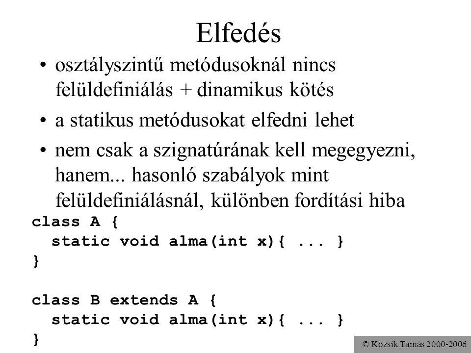 Elfedés osztályszintű metódusoknál nincs felüldefiniálás + dinamikus kötés. a statikus metódusokat elfedni lehet.
