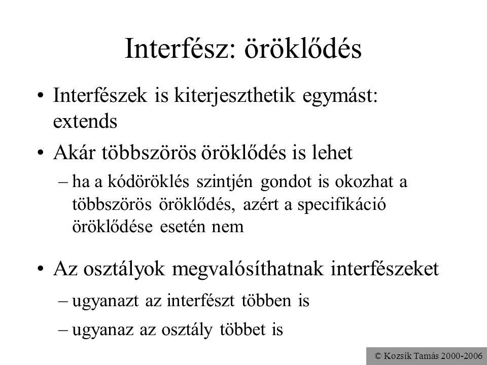 Interfész: öröklődés Interfészek is kiterjeszthetik egymást: extends