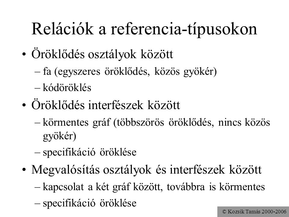 Relációk a referencia-típusokon