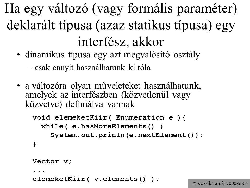 Ha egy változó (vagy formális paraméter) deklarált típusa (azaz statikus típusa) egy interfész, akkor