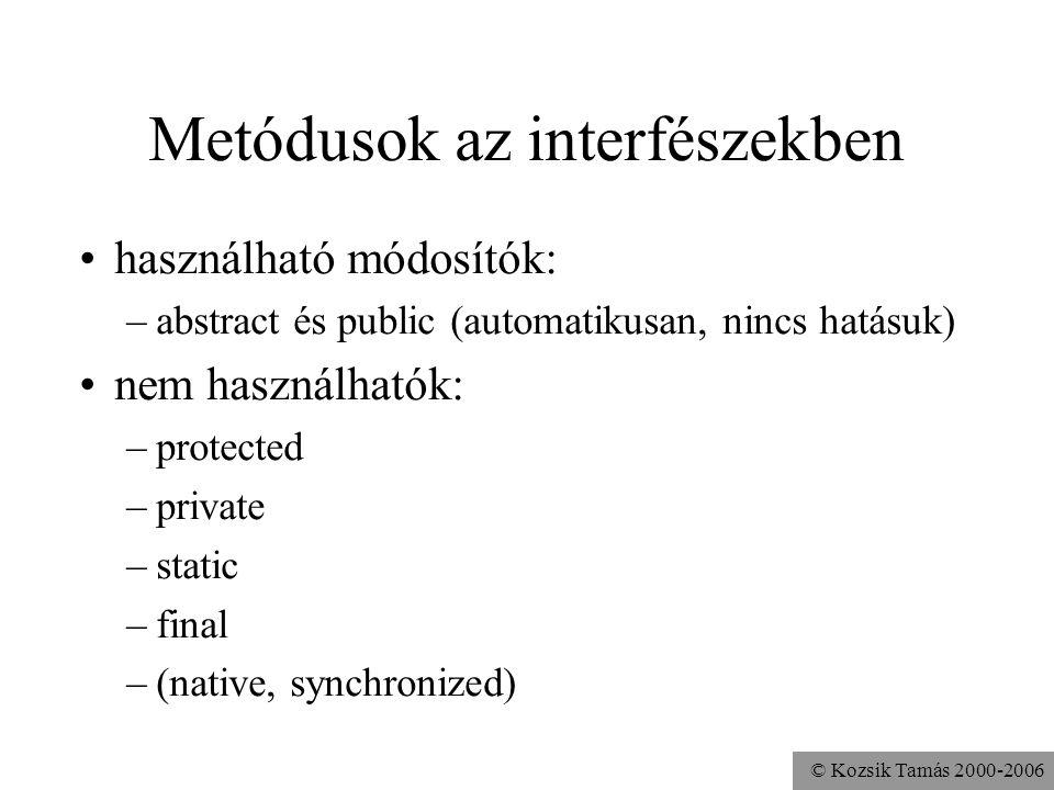 Metódusok az interfészekben