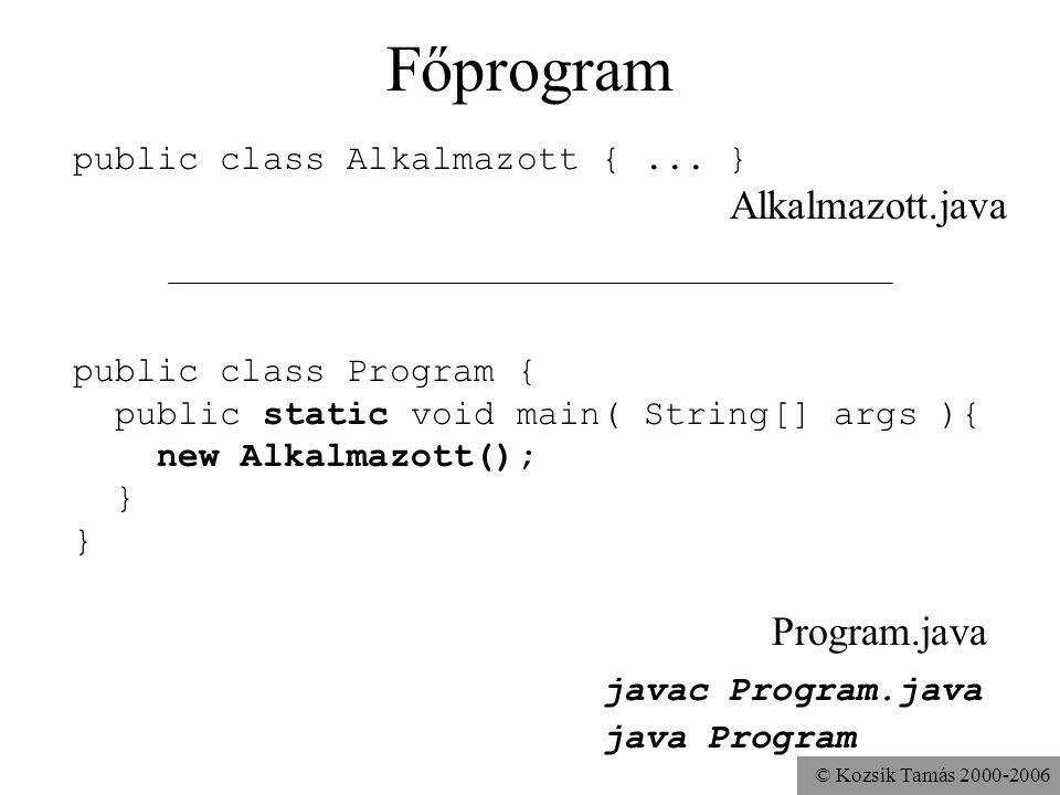 Főprogram javac Program.java public class Alkalmazott { ... }