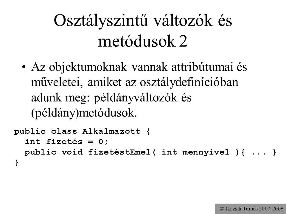 Osztályszintű változók és metódusok 2