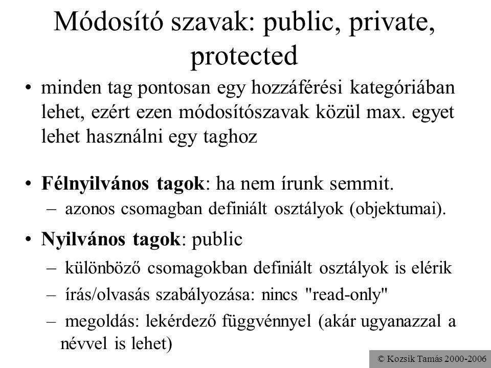 Módosító szavak: public, private, protected