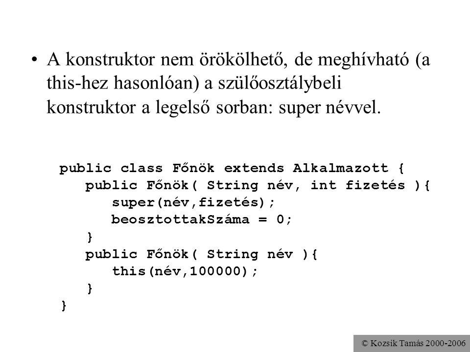 A konstruktor nem örökölhető, de meghívható (a this-hez hasonlóan) a szülőosztálybeli konstruktor a legelső sorban: super névvel.