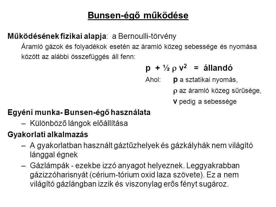 Bunsen-égő működése Működésének fizikai alapja: a Bernoulli-törvény