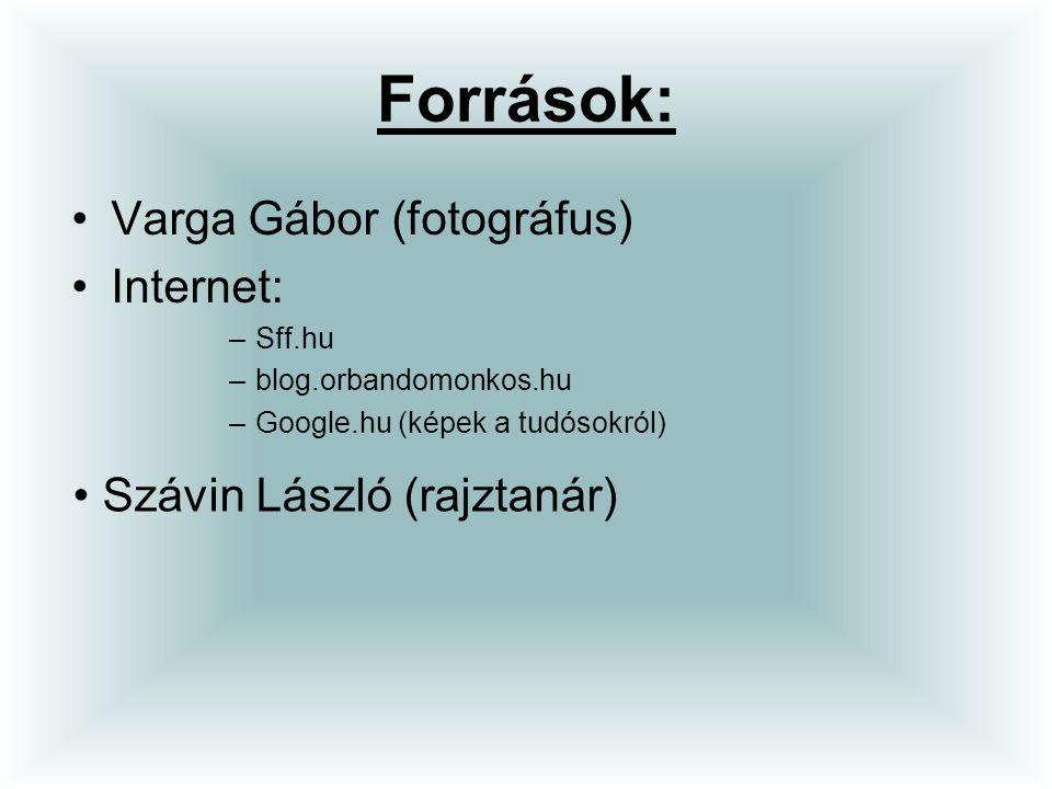 Források: Varga Gábor (fotográfus) Internet: Szávin László (rajztanár)