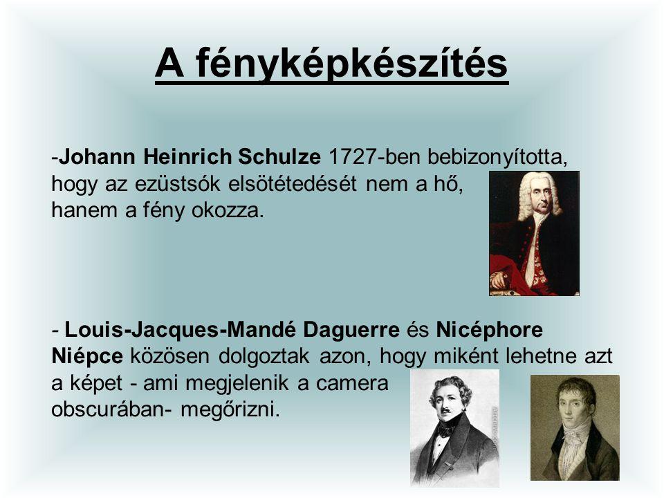 A fényképkészítés Johann Heinrich Schulze 1727-ben bebizonyította, hogy az ezüstsók elsötétedését nem a hő, hanem a fény okozza.