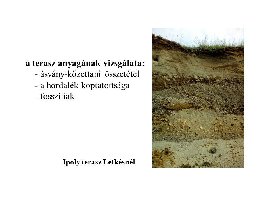 a terasz anyagának vizsgálata: - ásvány-kőzettani összetétel