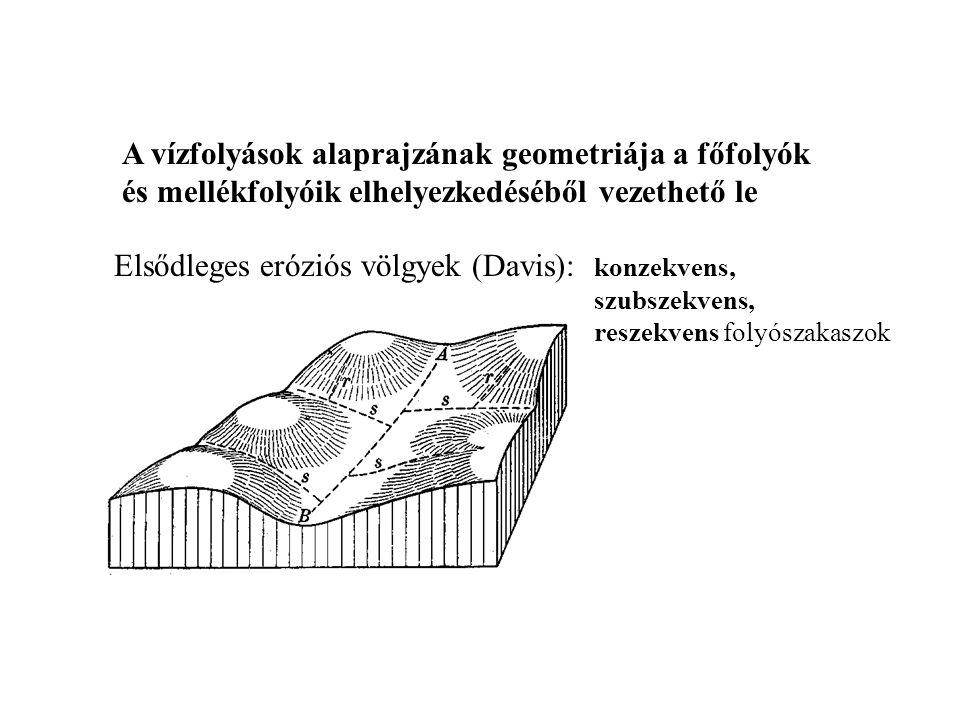 Elsődleges eróziós völgyek (Davis): konzekvens,
