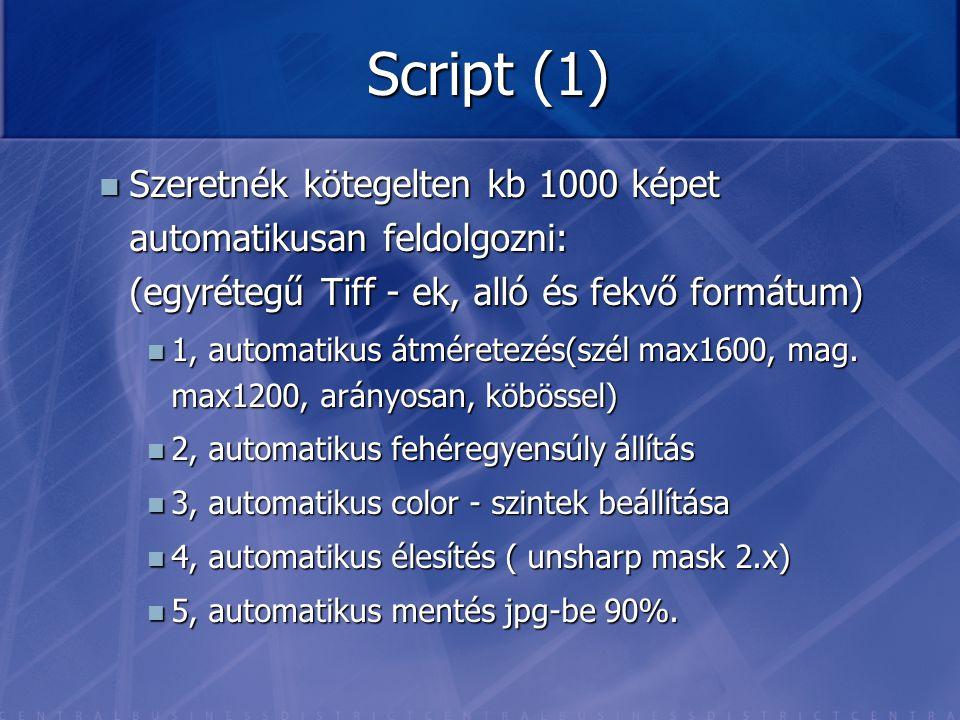 Script (1) Szeretnék kötegelten kb 1000 képet automatikusan feldolgozni: (egyrétegű Tiff - ek, alló és fekvő formátum)