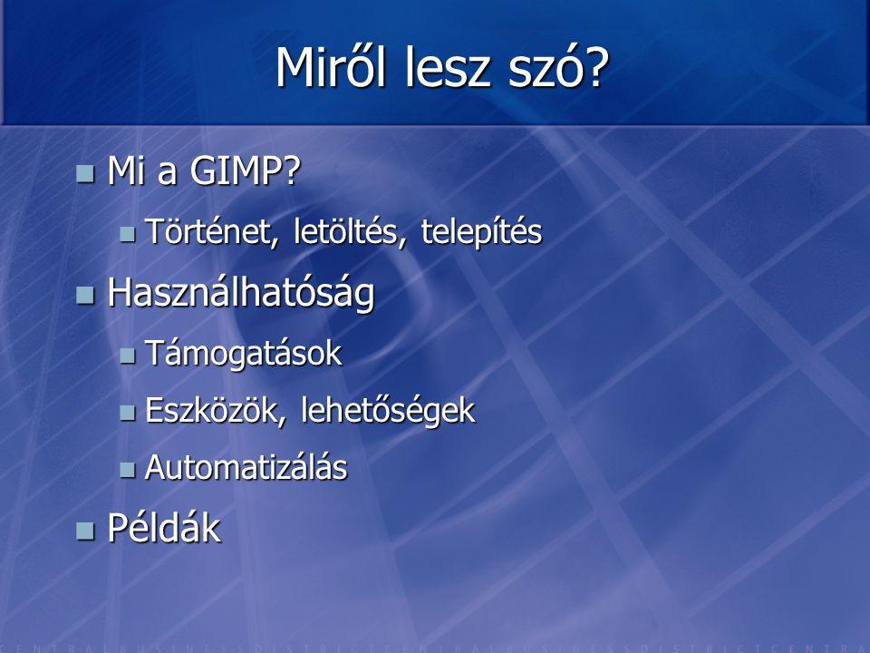 Miről lesz szó Mi a GIMP Használhatóság Példák