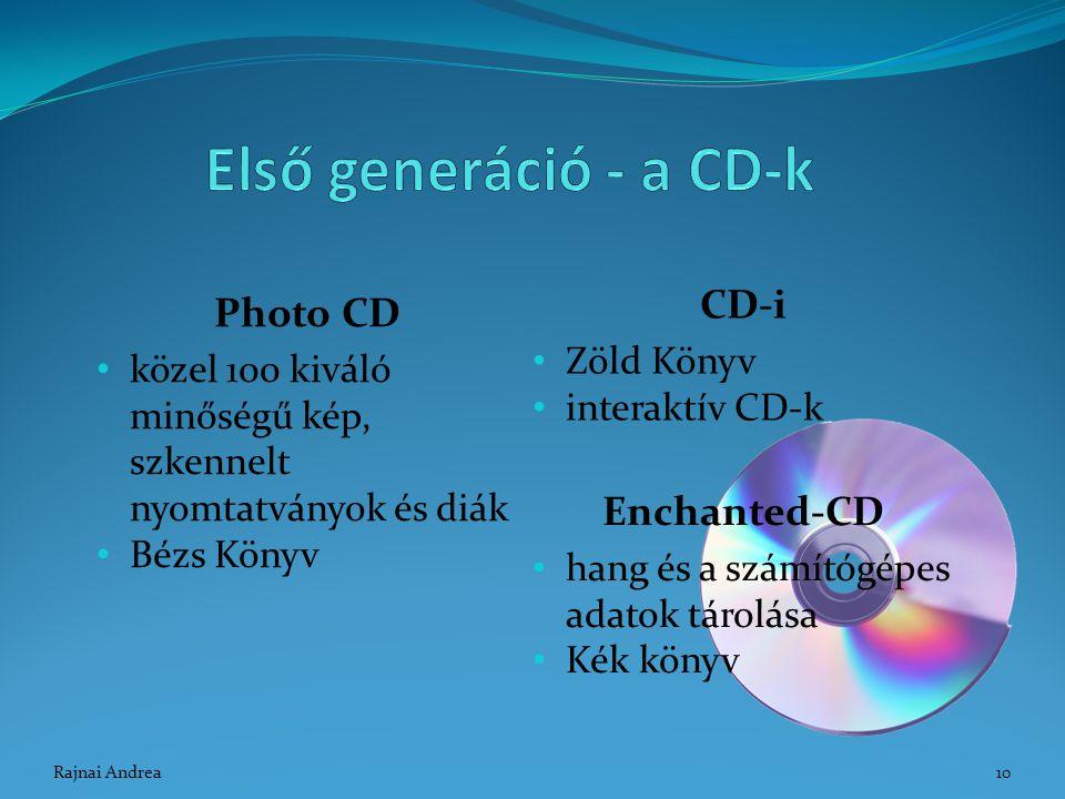 Első generáció - a CD-k CD-i Photo CD Enchanted-CD Zöld Könyv