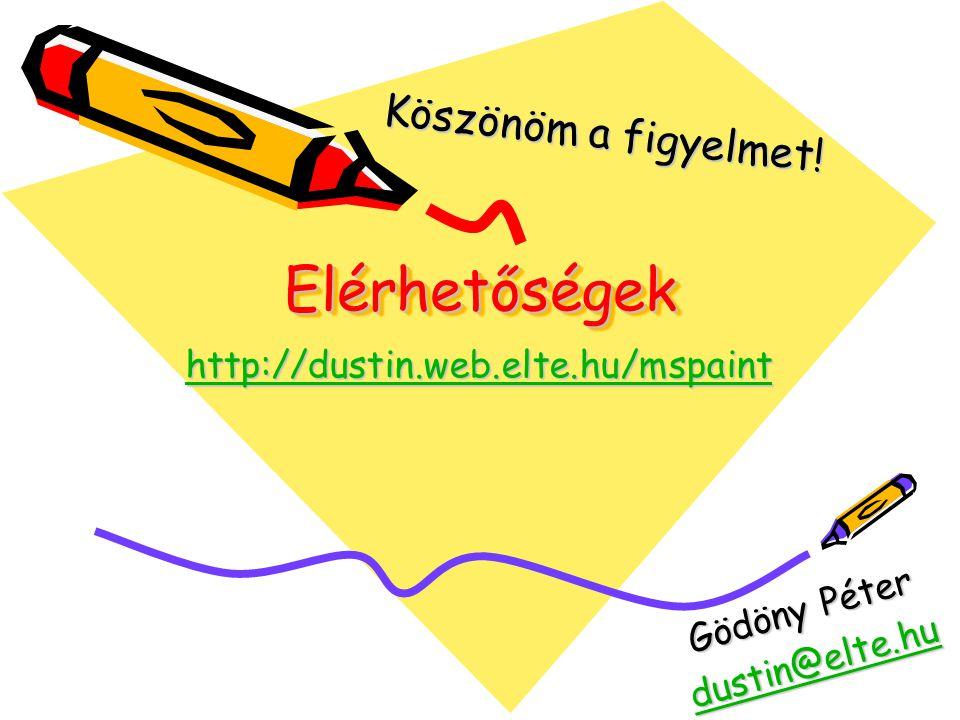 Elérhetőségek Köszönöm a figyelmet! http://dustin.web.elte.hu/mspaint