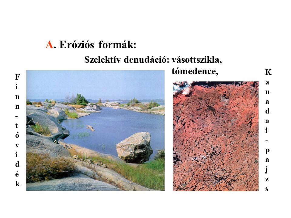 A. Eróziós formák: Szelektív denudáció: vásottszikla, tómedence,