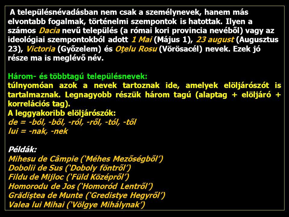 A településnévadásban nem csak a személynevek, hanem más elvontabb fogalmak, történelmi szempontok is hatottak. Ilyen a számos Dacia nevű település (a római kori provincia nevéből) vagy az ideológiai szempontokból adott 1 Mai (Május 1), 23 august (Augusztus 23), Victoria (Győzelem) és Oţelu Rosu (Vörösacél) nevek. Ezek jó része ma is meglévő név.