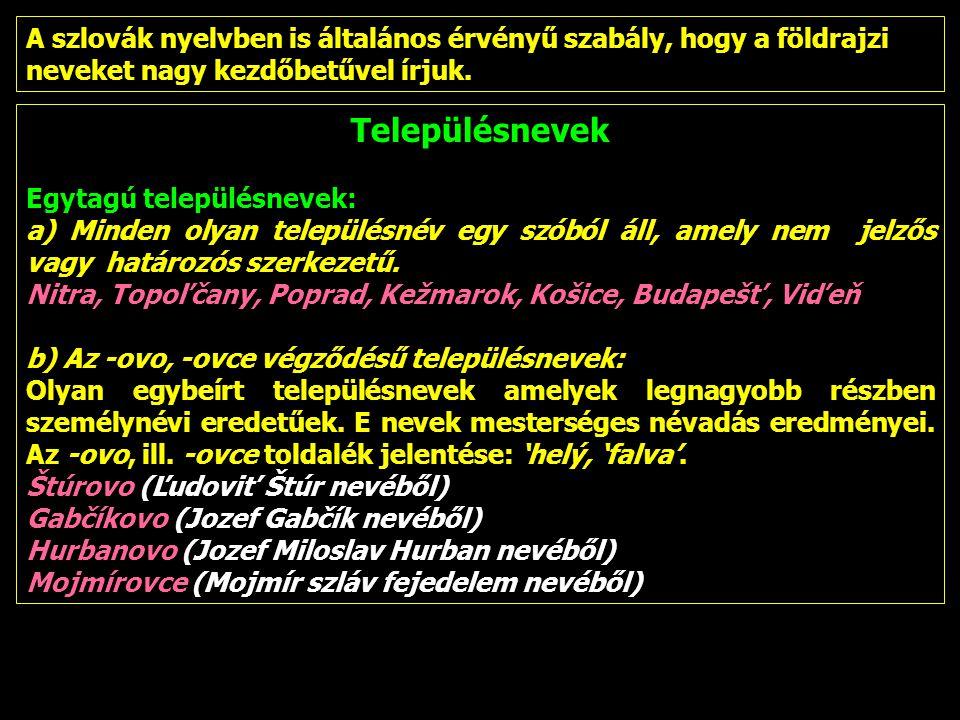 A szlovák nyelvben is általános érvényű szabály, hogy a földrajzi neveket nagy kezdőbetűvel írjuk.