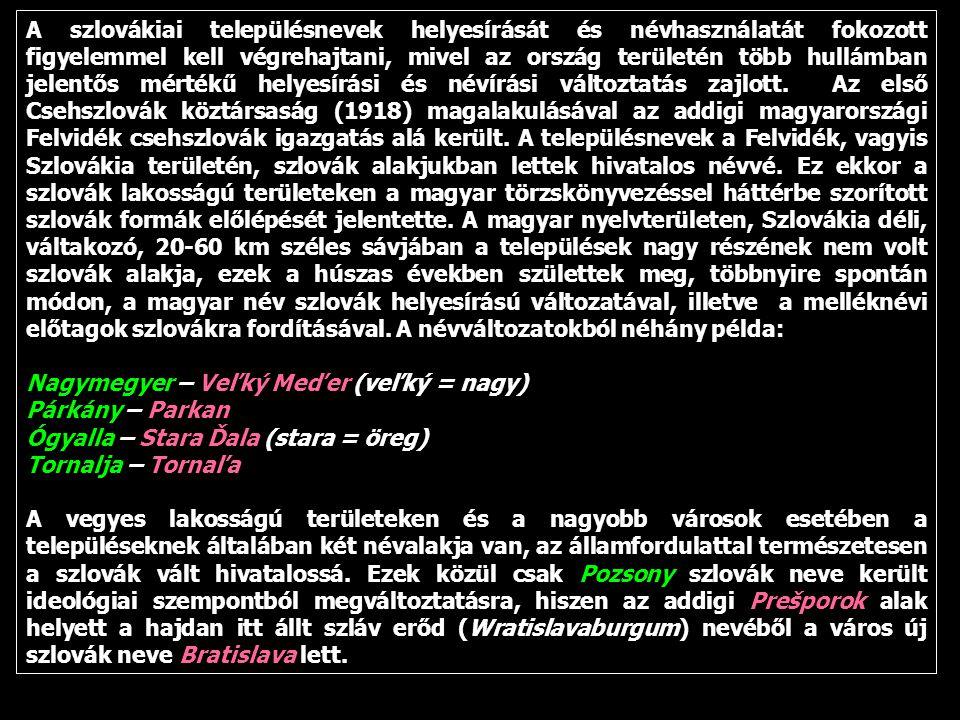 A szlovákiai településnevek helyesírását és névhasználatát fokozott figyelemmel kell végrehajtani, mivel az ország területén több hullámban jelentős mértékű helyesírási és névírási változtatás zajlott. Az első Csehszlovák köztársaság (1918) magalakulásával az addigi magyarországi Felvidék csehszlovák igazgatás alá került. A településnevek a Felvidék, vagyis Szlovákia területén, szlovák alakjukban lettek hivatalos névvé. Ez ekkor a szlovák lakosságú területeken a magyar törzskönyvezéssel háttérbe szorított szlovák formák előlépését jelentette. A magyar nyelvterületen, Szlovákia déli, váltakozó, 20-60 km széles sávjában a települések nagy részének nem volt szlovák alakja, ezek a húszas években születtek meg, többnyire spontán módon, a magyar név szlovák helyesírású változatával, illetve a melléknévi előtagok szlovákra fordításával. A névváltozatokból néhány példa: