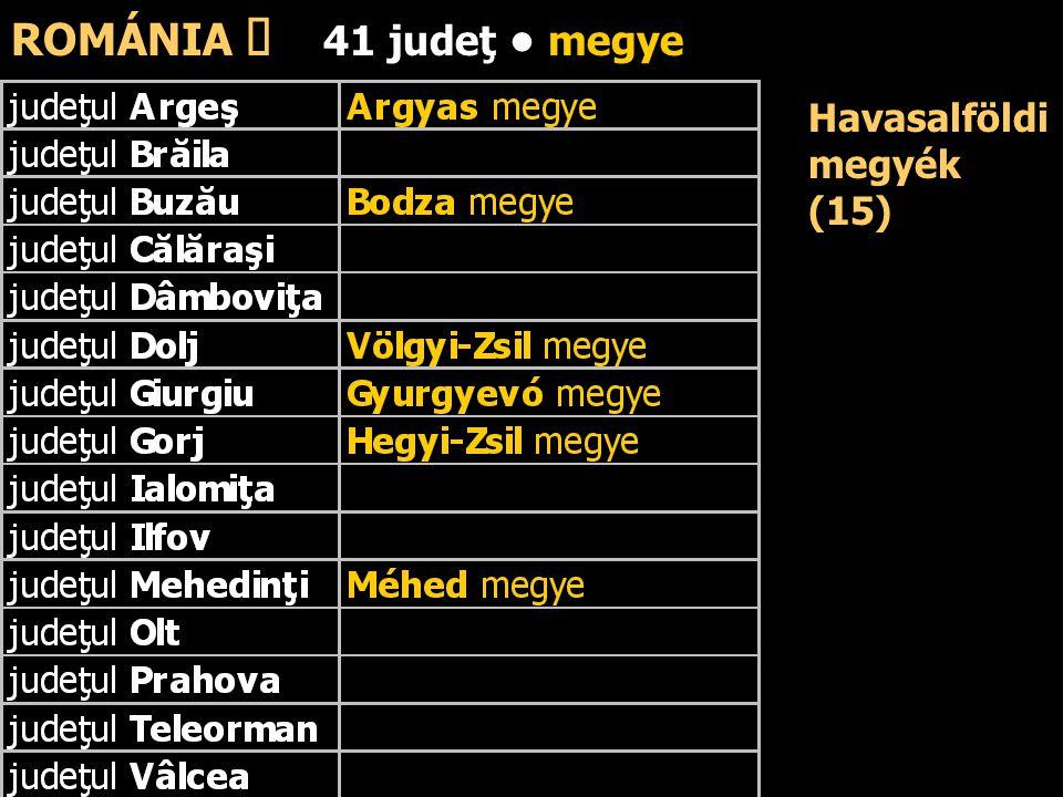 ROMÁNIA ő 41 judeţ • megye Havasalföldi megyék (15)