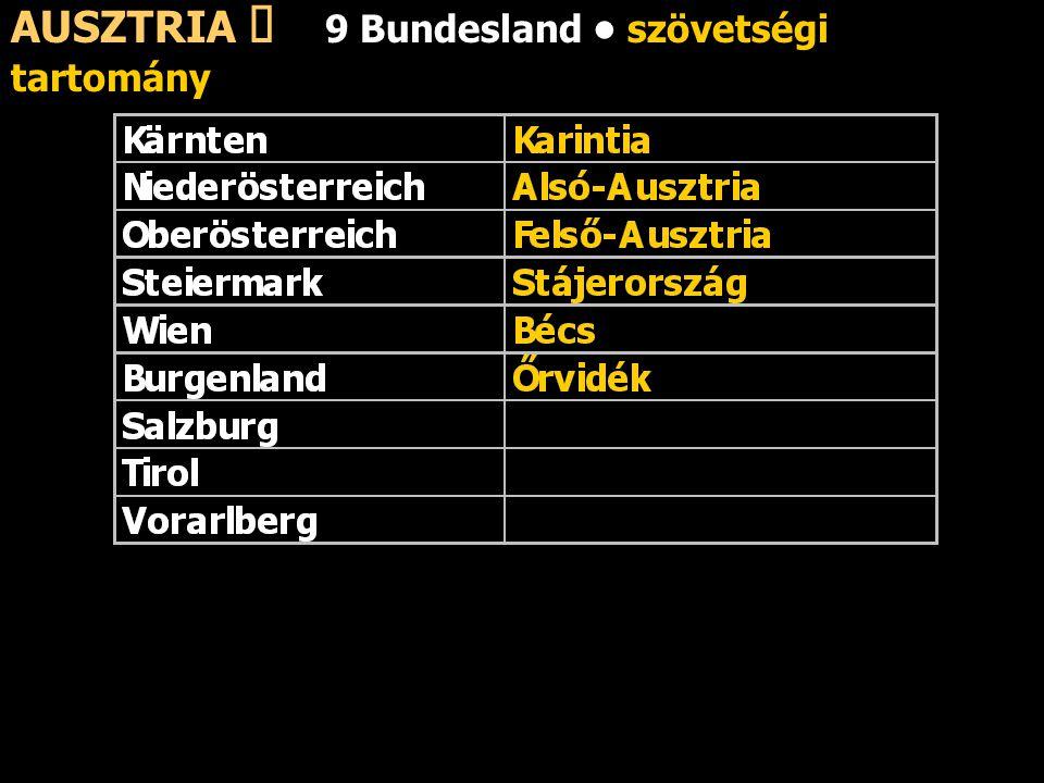 AUSZTRIA ő 9 Bundesland • szövetségi tartomány