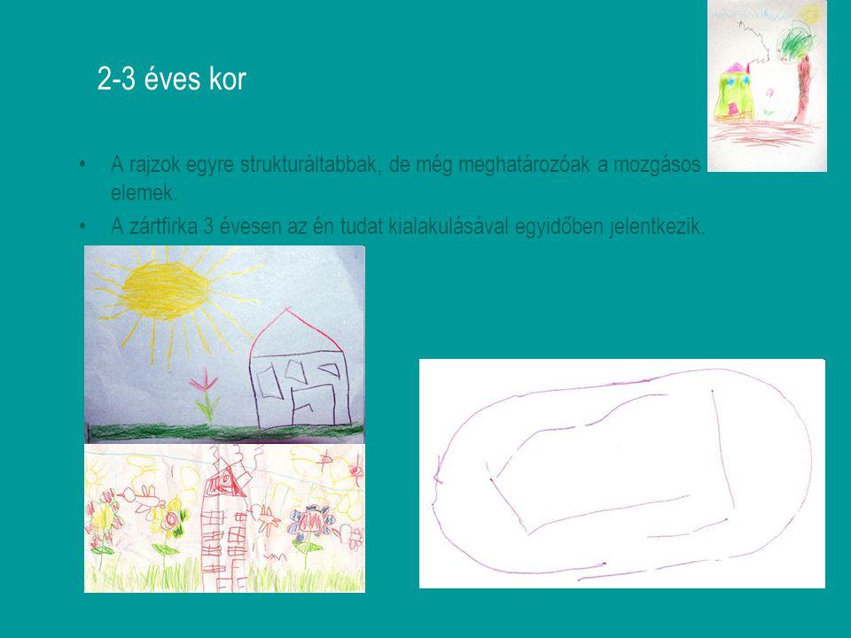 2-3 éves kor A rajzok egyre strukturáltabbak, de még meghatározóak a mozgásos elemek.