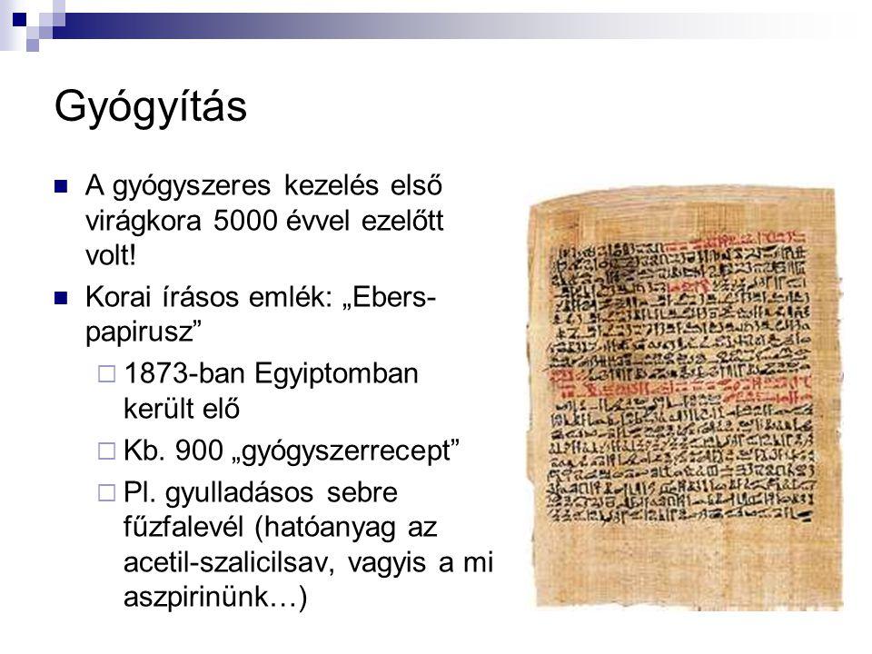 """Gyógyítás A gyógyszeres kezelés első virágkora 5000 évvel ezelőtt volt! Korai írásos emlék: """"Ebers-papirusz"""