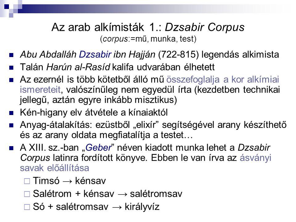 Az arab alkímisták 1.: Dzsabir Corpus (corpus:=mű, munka, test)