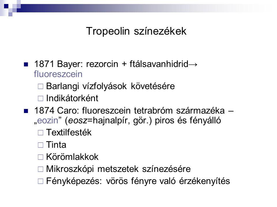 Tropeolin színezékek 1871 Bayer: rezorcin + ftálsavanhidrid→ fluoreszcein. Barlangi vízfolyások követésére.