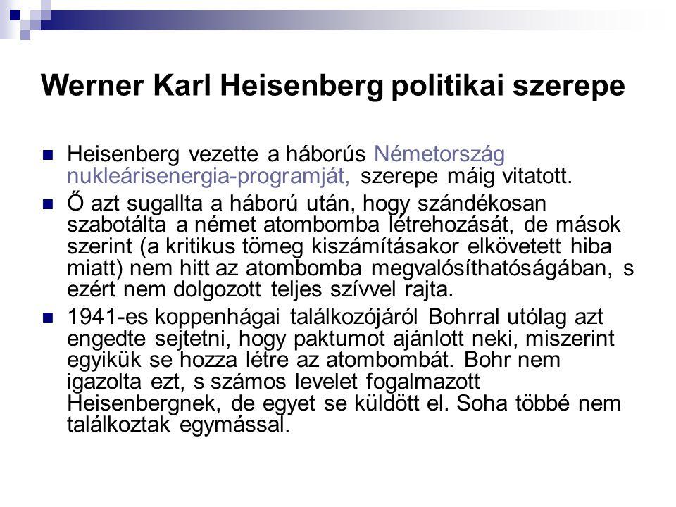 Werner Karl Heisenberg politikai szerepe