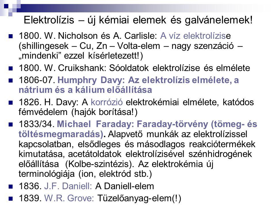 Elektrolízis – új kémiai elemek és galvánelemek!