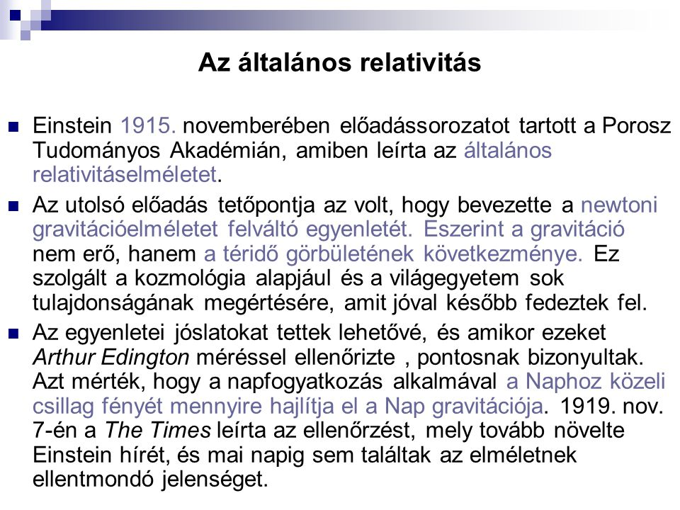 Az általános relativitás
