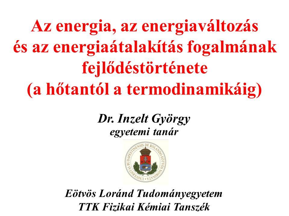Az energia, az energiaváltozás és az energiaátalakítás fogalmának fejlődéstörténete (a hőtantól a termodinamikáig)