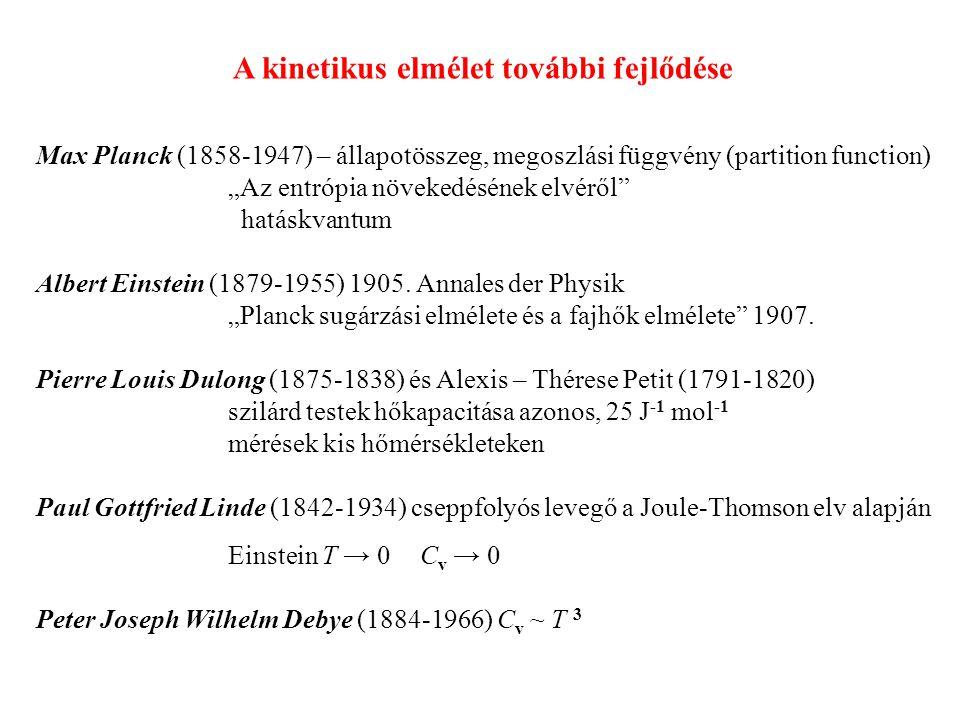 A kinetikus elmélet további fejlődése