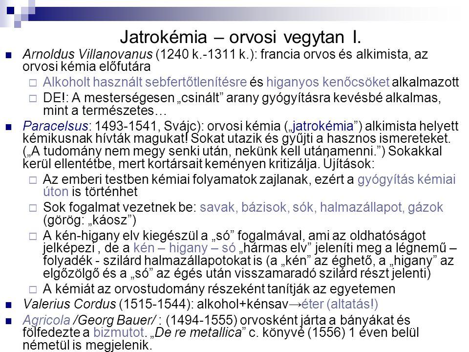 Jatrokémia – orvosi vegytan I.