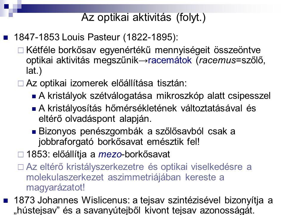 Az optikai aktivitás (folyt.)