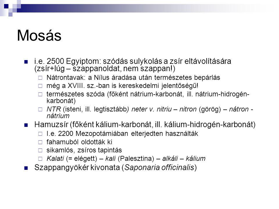 Mosás i.e. 2500 Egyiptom: szódás sulykolás a zsír eltávolítására (zsír+lúg – szappanoldat, nem szappan!)