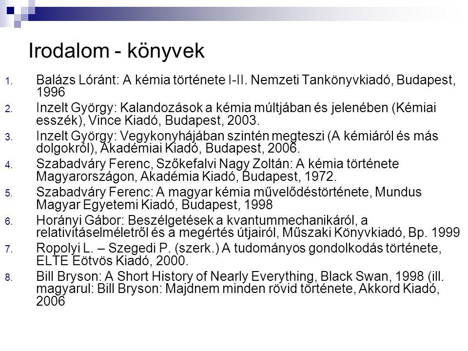 Irodalom - könyvek Balázs Lóránt: A kémia története I-II. Nemzeti Tankönyvkiadó, Budapest, 1996.