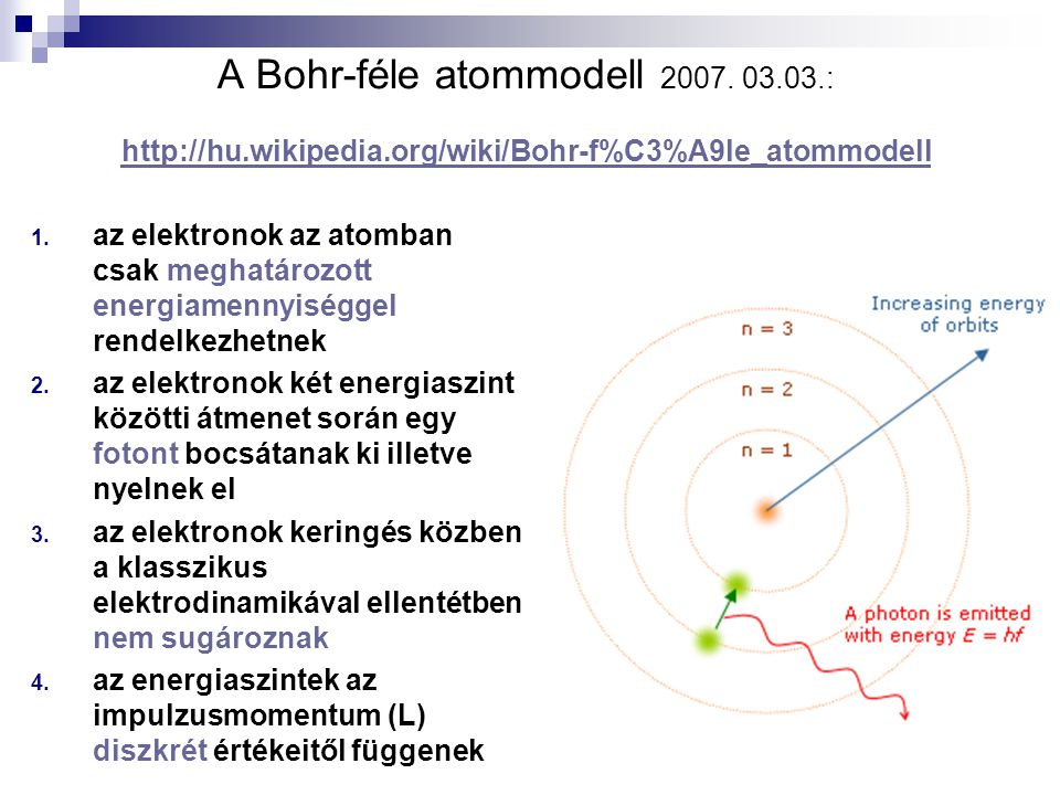 A Bohr-féle atommodell 2007. 03. 03. : http://hu. wikipedia