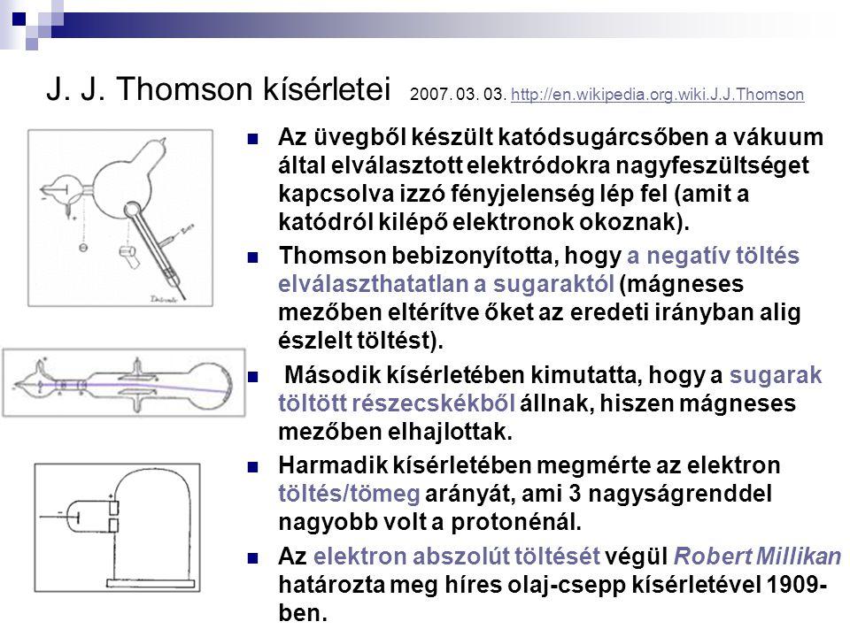 J. J. Thomson kísérletei 2007. 03. 03. http://en. wikipedia. org. wiki