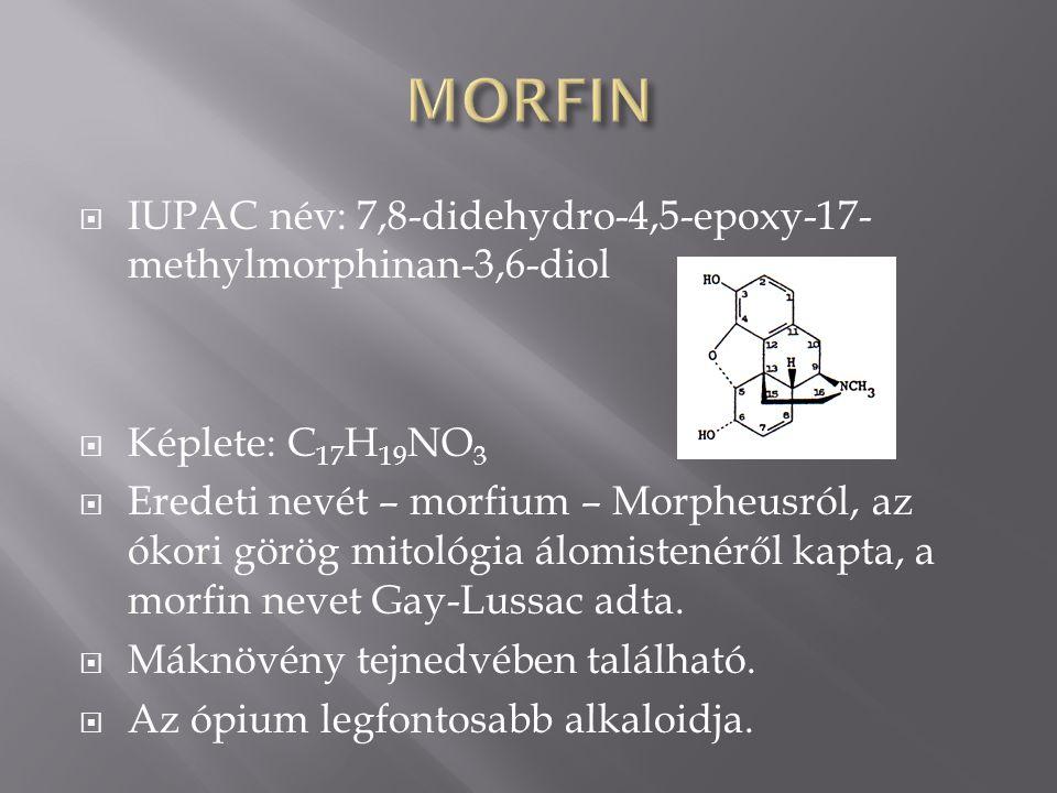 MORFIN IUPAC név: 7,8-didehydro-4,5-epoxy-17-methylmorphinan-3,6-diol