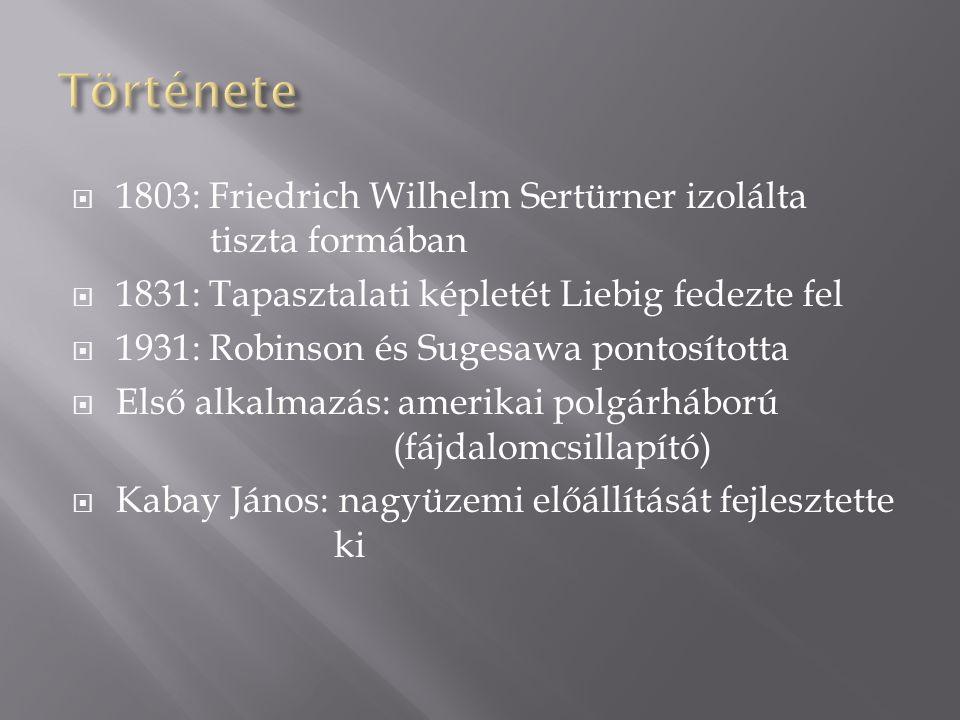 Története 1803: Friedrich Wilhelm Sertürner izolálta tiszta formában
