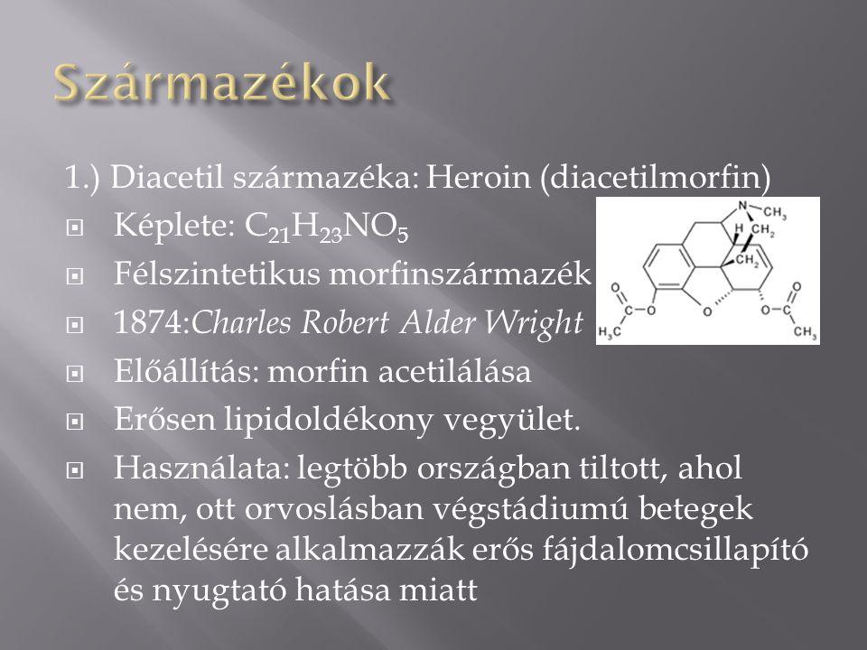 Származékok 1.) Diacetil származéka: Heroin (diacetilmorfin)
