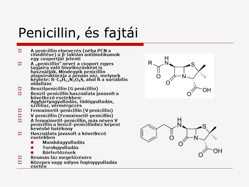 Penicillin, és fajtái A penicillin elnevezés (néha PCN a rövidítése) a β-laktám antibiotikumok egy csoportját jelenti.