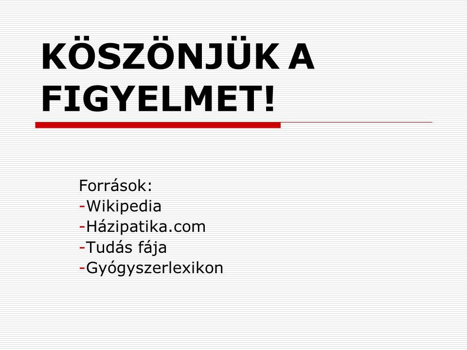 Források: Wikipedia Házipatika.com Tudás fája Gyógyszerlexikon