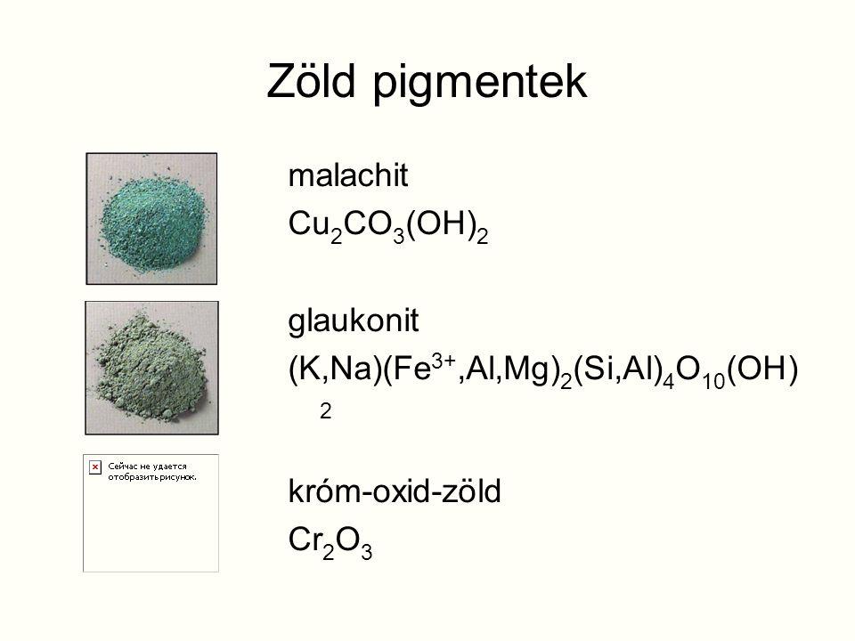 Zöld pigmentek malachit Cu2CO3(OH)2 glaukonit