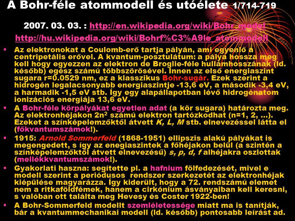 A Bohr-féle atommodell és utóélete 1/714-719 2007. 03. 03. : http://en