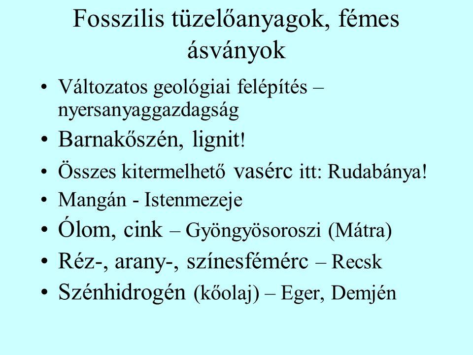 Fosszilis tüzelőanyagok, fémes ásványok