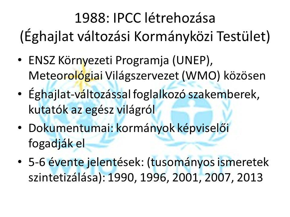 1988: IPCC létrehozása (Éghajlat változási Kormányközi Testület)